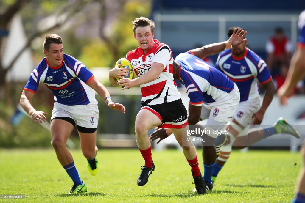Ryan Lonergan of the Vikings makes a break during the round nine NRC match between the Rams and Canberra at TG Milner Oval on October 29, 2017 in Sydney, Australia.