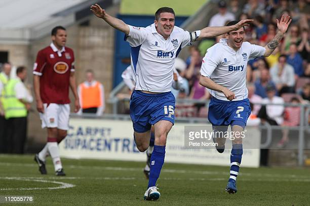 Ryan Lowe of Bury celebrates after scoring his sides first goal during the npower League Two League match between Northampton Town and Bury at...
