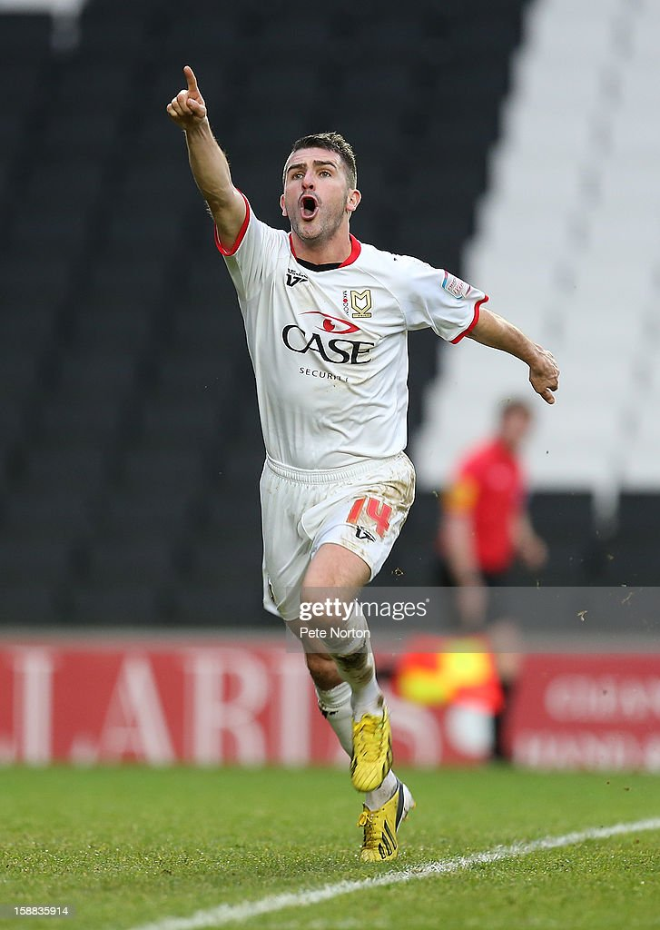 Ryan Lowe of Milton Keynes Dons celebrates after scoring his sides 1st goal during the npower League One match between Milton Keynes Dons and Coventry City at Stadium mk on December 29, 2012 in Milton Keynes, England.