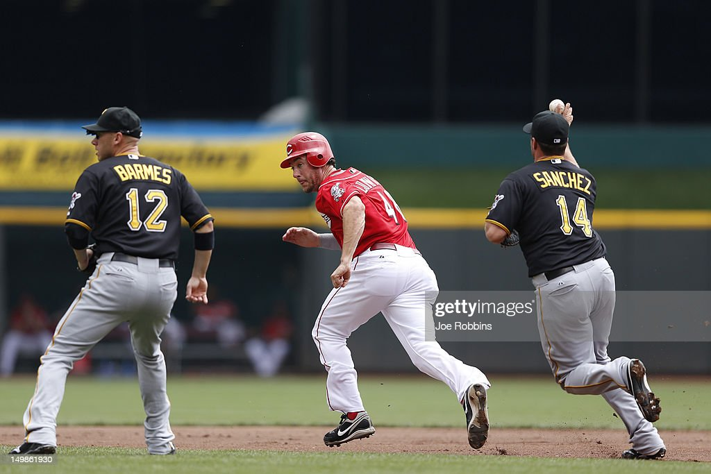 <a gi-track='captionPersonalityLinkClicked' href=/galleries/search?phrase=Ryan+Ludwick&family=editorial&specificpeople=834386 ng-click='$event.stopPropagation()'>Ryan Ludwick</a> #48 of the Cincinnati Reds gets caught in a rundown between first and second base during the game against the Pittsburgh Pirates at Great American Ball Park on August 5, 2012 in Cincinnati, Ohio. The Pirates won 6-2.