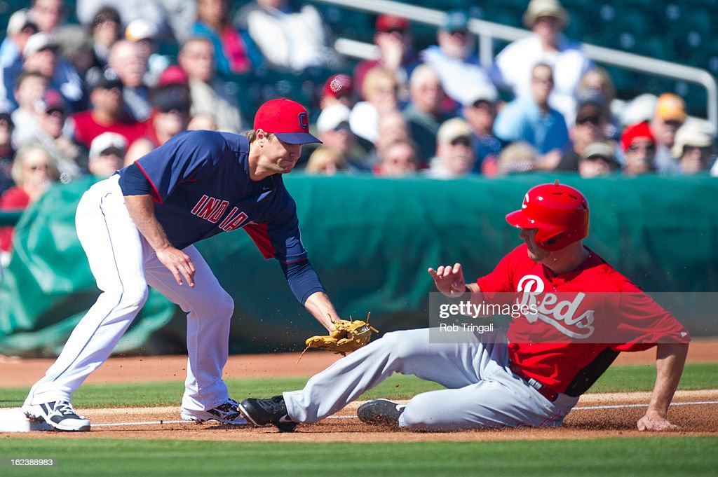 <a gi-track='captionPersonalityLinkClicked' href=/galleries/search?phrase=Ryan+Ludwick&family=editorial&specificpeople=834386 ng-click='$event.stopPropagation()'>Ryan Ludwick</a> #48 of the Cincinnati Reds is tagged out at third base by <a gi-track='captionPersonalityLinkClicked' href=/galleries/search?phrase=Lonnie+Chisenhall&family=editorial&specificpeople=6796448 ng-click='$event.stopPropagation()'>Lonnie Chisenhall</a> #8 of the Cleveland Indians at Goodyear Ballpark on February 22, 2013 in Goodyear, Arizona.