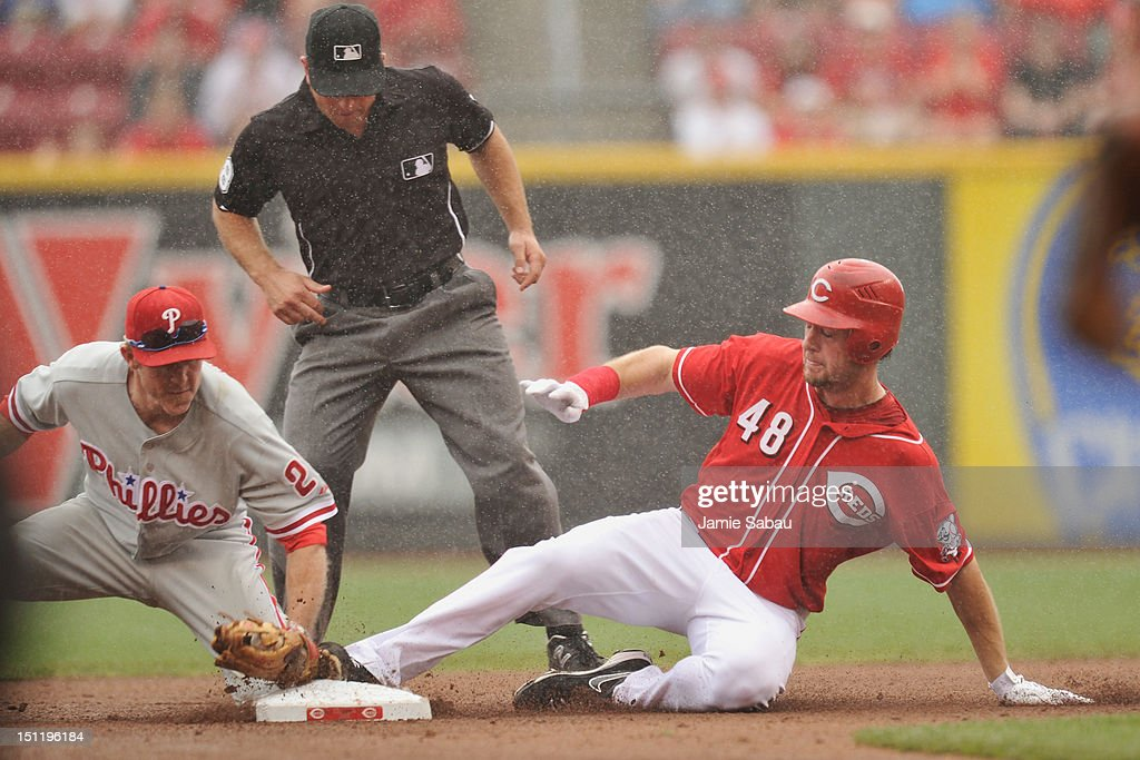 <a gi-track='captionPersonalityLinkClicked' href=/galleries/search?phrase=Ryan+Ludwick&family=editorial&specificpeople=834386 ng-click='$event.stopPropagation()'>Ryan Ludwick</a> #48 of the Cincinnati Reds slides in safely at second base for a double in the fourth inning as <a gi-track='captionPersonalityLinkClicked' href=/galleries/search?phrase=Chase+Utley&family=editorial&specificpeople=161391 ng-click='$event.stopPropagation()'>Chase Utley</a> #26 of the Philadelphia Phillies attempts to make the tag at Great American Ball Park on September 3, 2012 in Cincinnati, Ohio.