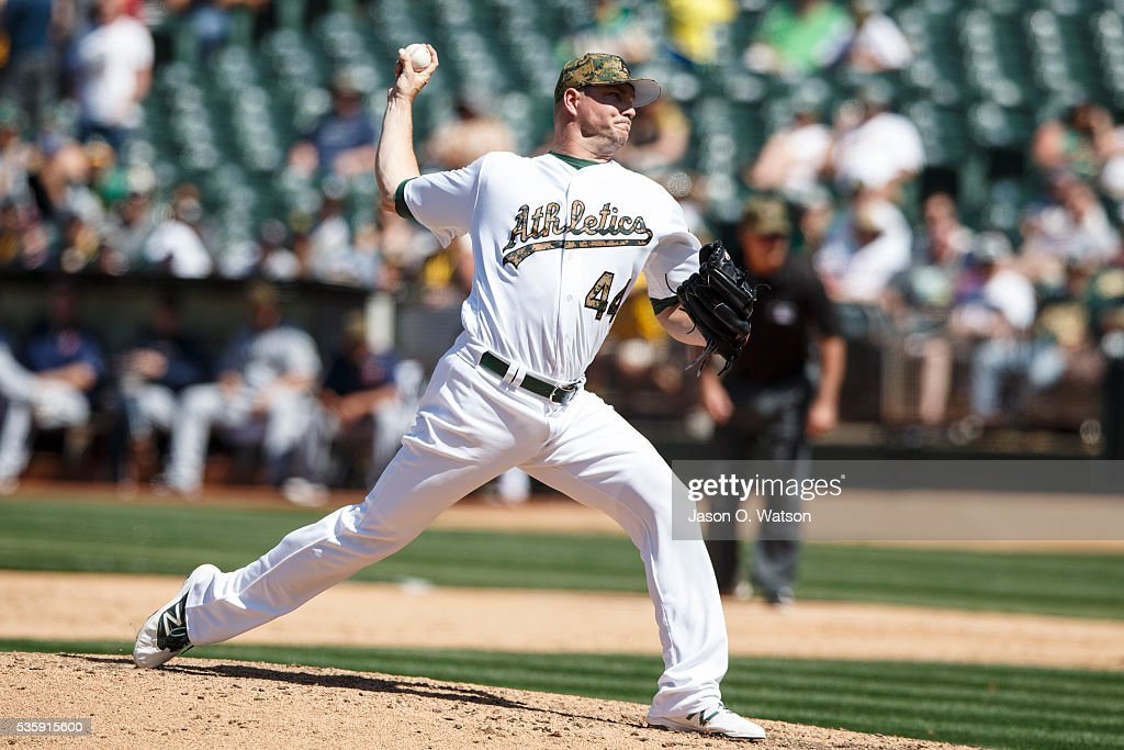 <a gi-track='captionPersonalityLinkClicked' href=/galleries/search?phrase=Ryan+Madson&family=editorial&specificpeople=550315 ng-click='$event.stopPropagation()'>Ryan Madson</a> #44 of the Oakland Athletics pitches against the Minnesota Twins during the ninth inning at the Oakland Coliseum on May 30, 2016 in Oakland, California. The Oakland Athletics defeated the Minnesota Twins 3-2.
