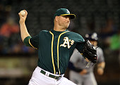 Ryan Madson of the Oakland Athletics pitches in the top of the ninth inning against the Tampa Bay Rays at the OaklandAlameda Coliseum on July 22 2016...
