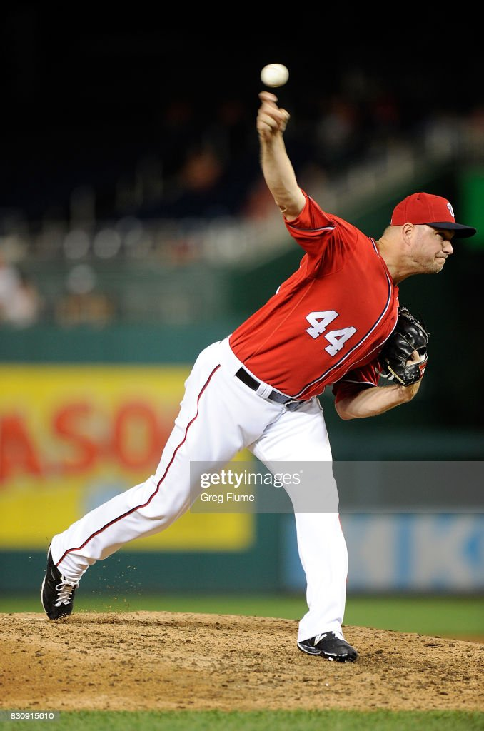 Ryan Madson #44 of the Washington Nationals pitches in the eighth inning against the San Francisco Giants at Nationals Park on August 12, 2017 in Washington, DC.