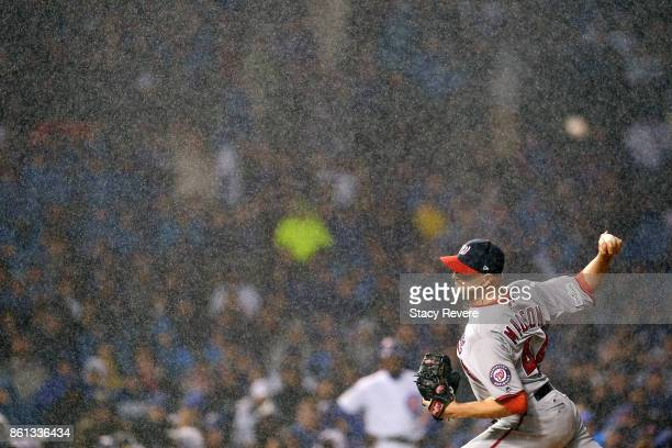 Ryan Madson of the Washington Nationals throws a pitch during game four of the National League Division Series against the Chicago Cubs at Wrigley...