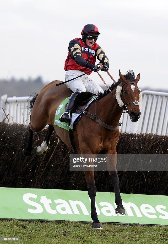 Ryan Mahon riding Pacha Du Polder clear the last to win The Stanjames Supporting Greatwood Gold Cup Handicap Steeple Chase at Newbury racecourse on March 02, 2013 in Newbury, England.