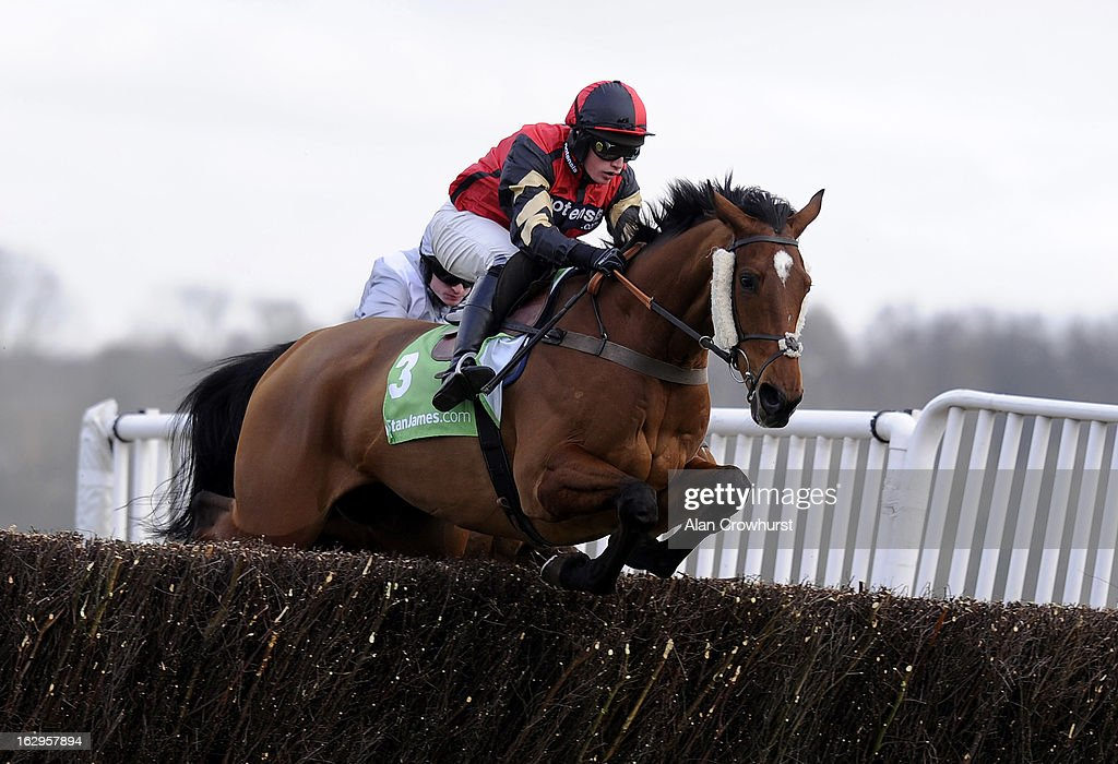 Ryan Mahon riding Pacha Du Polder on their way to winning The Stanjames Supporting Greatwood Gold Cup Handicap Steeple Chase at Newbury racecourse on March 02, 2013 in Newbury, England.