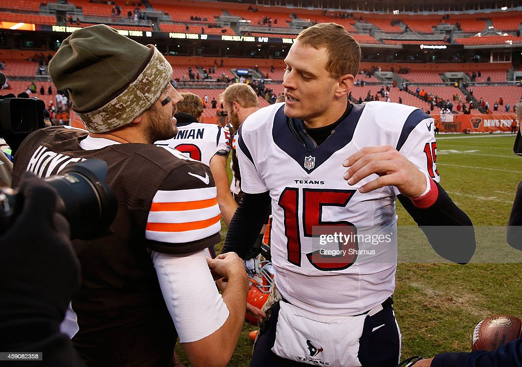 Ryan Mallett #15 of the Houston Texans is congratulated by Brian Hoyer #6 of the Cleveland Browns after Houston's 23-7 win at FirstEnergy Stadium on November 16, 2014 in Cleveland, Ohio.