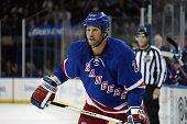 Ryan Malone of the New York Rangers skates against the Chicago Blackhawks at Madison Square Garden on October 3 2014 in New York City