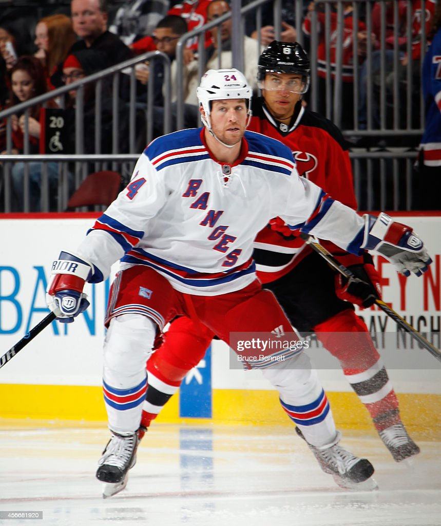 Ryan Malone of the New York Rangers skates against the New Jersey Devils at the Prudential Center on October 4 2014 in Newark New Jersey The Devils...