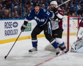 Ryan Malone of the Tampa Bay Lightning skates against the Colorado Avalanche at the Tampa Bay Times Forum on January 25 2014 in Tampa Florida