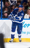 Ryan Malone of the Tampa Bay Lightning skates against the Vancouver Canucks at the Tampa Bay Times Forum on March 17 2014 in Tampa Florida
