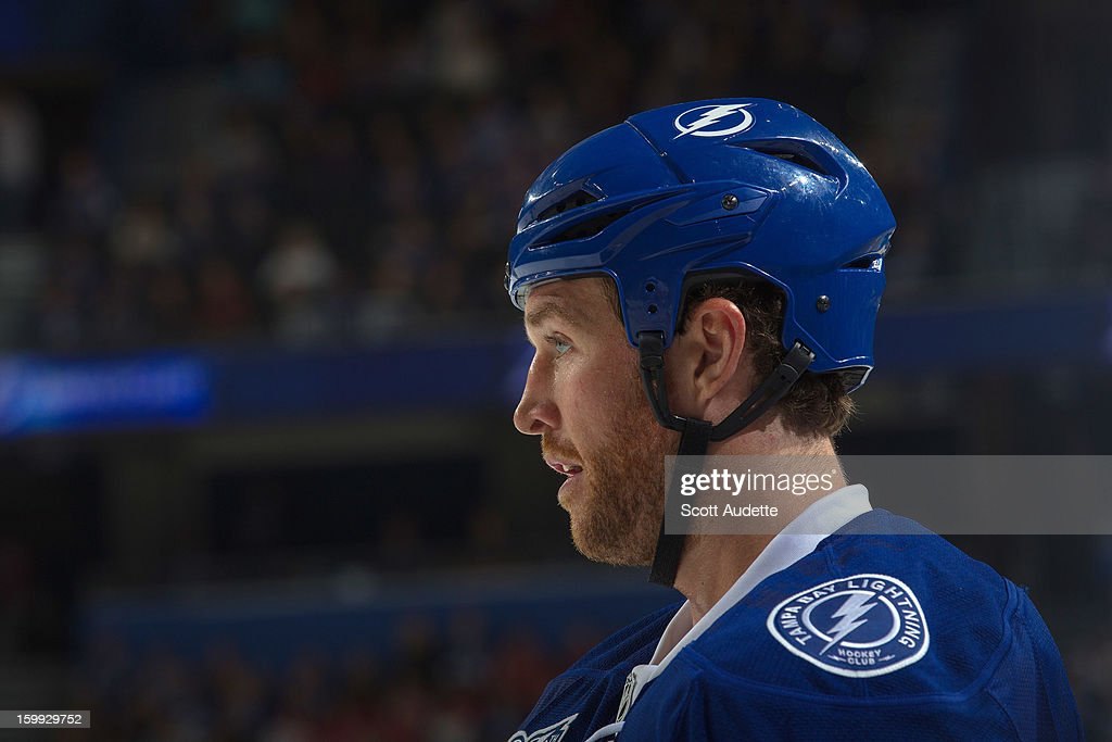 Ryan Malone #12 of the Tampa Bay Lightning skates during a break in the action against the Washington Capitals at the Tampa Bay Times Forum on January 19, 2013 in Tampa, Florida.