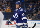 Ryan Malone of the Tampa Bay Lightning skates during a break in the action against the Nashville Predators at Tampa Bay Times Forum on September 19...