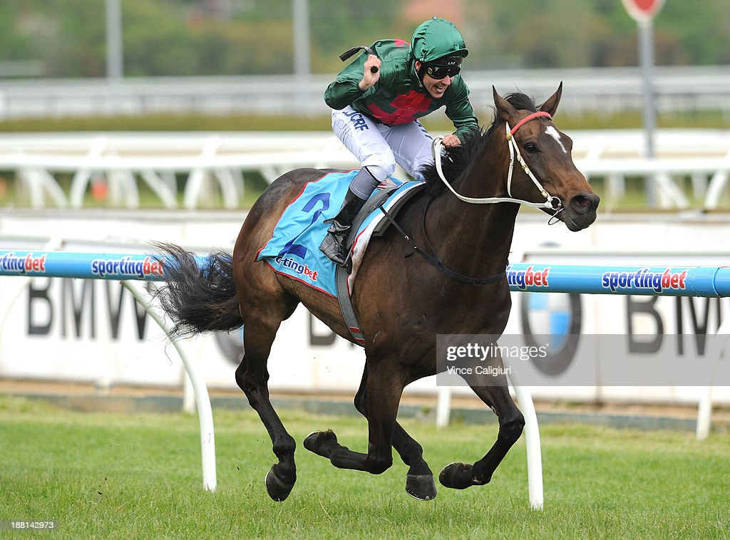 Ryan Maloney celebrates winning aboard Sertorius in Race 6 the Deadly Design Zipping Classic during Melbourne racing at Caulfield Racecourse on...