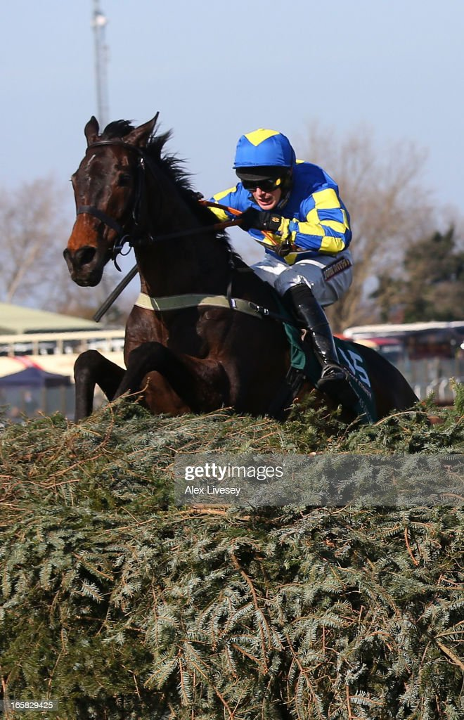 Ryan Mania riding Auroras Encore clears the last to win the John Smiths Grand National Steeple Chase at Aintree Racecourse on April 6, 2013 in Liverpool, England.