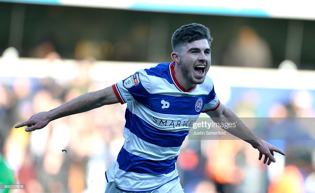 Ryan Manning of Queens Park Rangers celebrates scoring his sides first goal during the Sky Bet Championship match between Queens Park Rangers and Fulham at Loftus Road on January 21, 2017 in London, England.