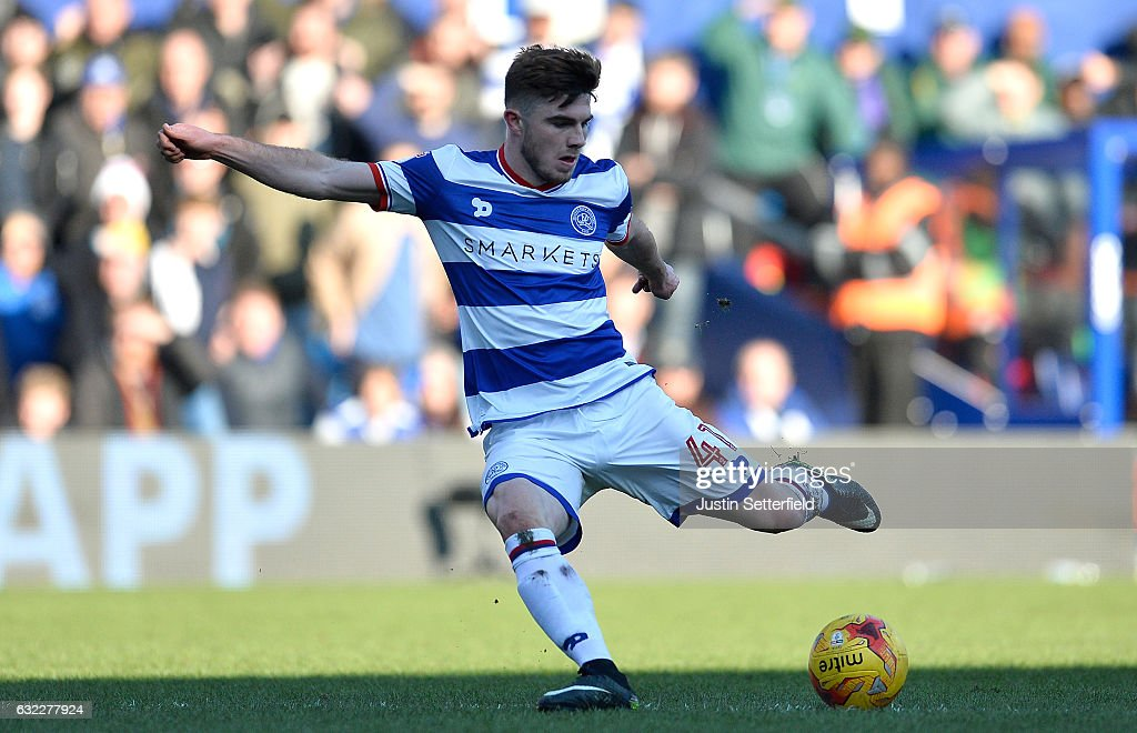 Ryan Manning of Queens Park Rangers scores his sides first goal during the Sky Bet Championship match between Queens Park Rangers and Fulham at Loftus Road on January 21, 2017 in London, England.
