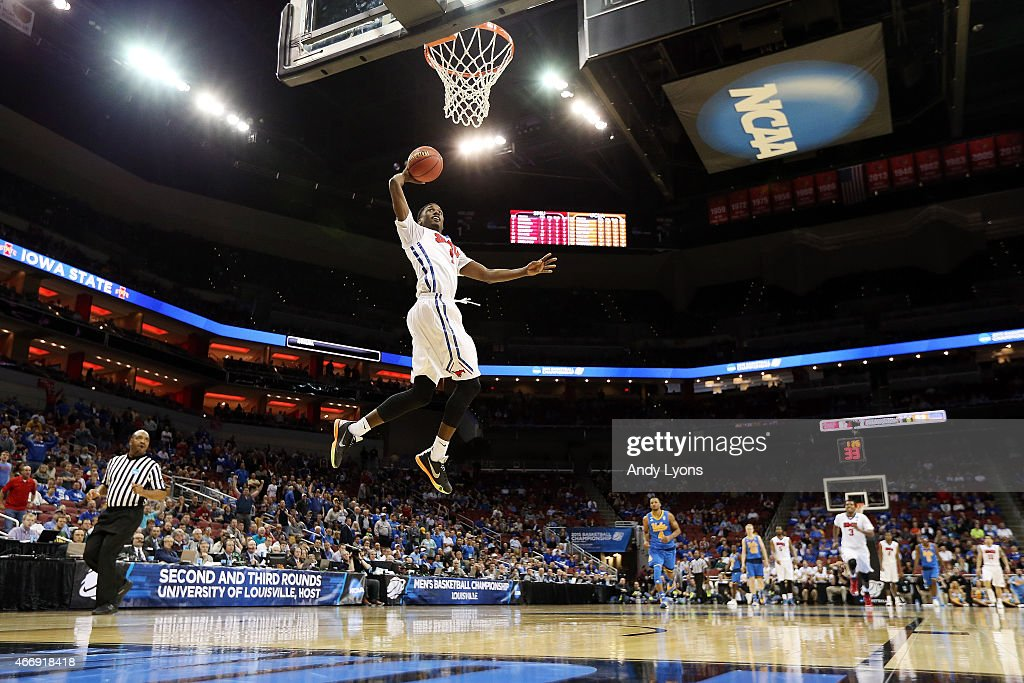Ryan Manuel #1 of the Southern Methodist Mustangs dunks the ball against the UCLA Bruins during the second round of the 2015 NCAA Men's Basketball Tournamenat at the KFC YUM! Center on March 19, 2015 in Louisville, Kentucky.