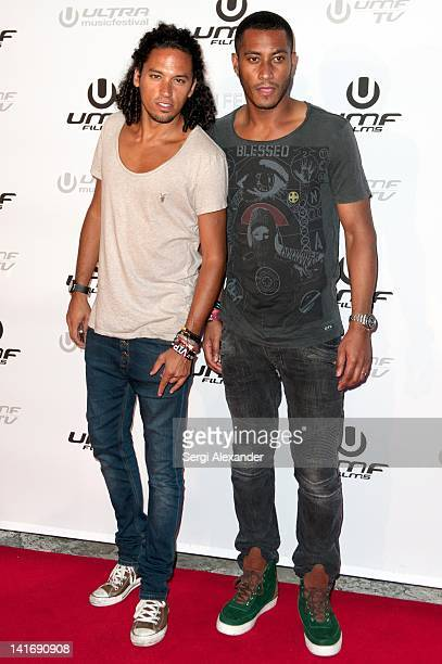 Ryan Marciano and DJ Sunnery James attend Exclusive World Premiere of'Can U Feel It The UMF Experience' at Bayfront Park Amphitheater on March 21...