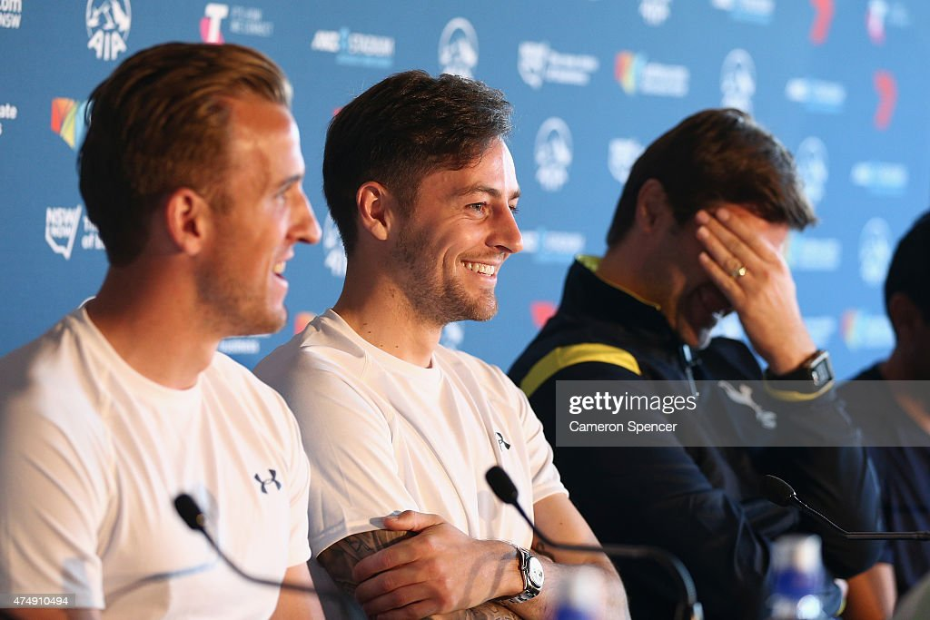 Ryan Mason of Tottenham and Tottenham manager Mauricio Pochettino share a laugh during a Tottenham Hotspur Official Arrival Media Conference at Overseas Passenger Terminal on May 28, 2015 in Sydney, Australia. Hotspur are playing Sydney FC in Sydney on Saturday, May 30th, 2015.