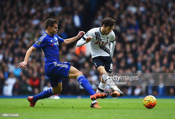 Ryan Mason of Tottenham Hotspur beats Cesar Azpilicueta of Chelsea to the ball during the Barclays Premier League match between Tottenham Hotspur and...