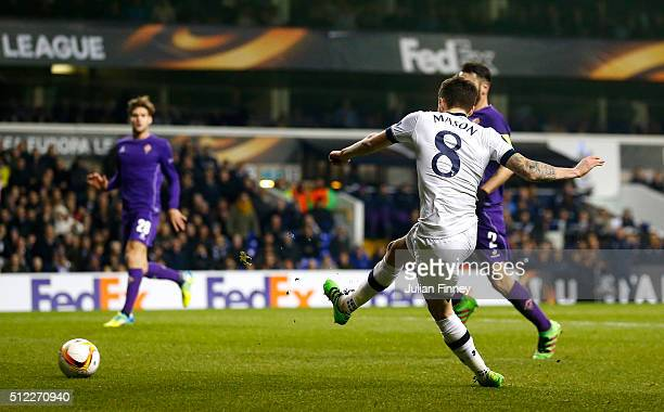 Ryan Mason of Tottenham Hotspur scores his team's first goal during the UEFA Europa League round of 32 second leg match between Tottenham Hotspur and...