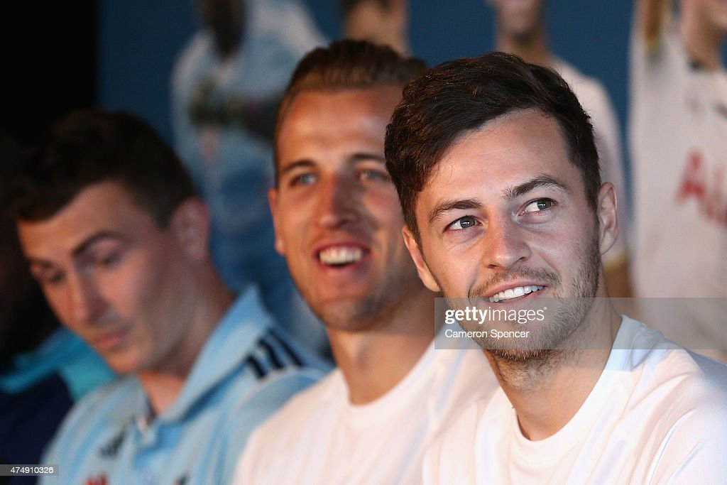 Ryan Mason of Tottenham talks during a Tottenham Hotspur Official Arrival Media Conference at Overseas Passenger Terminal on May 28, 2015 in Sydney, Australia. Hotspur are playing Sydney FC in Sydney on Saturday, May 30th, 2015.