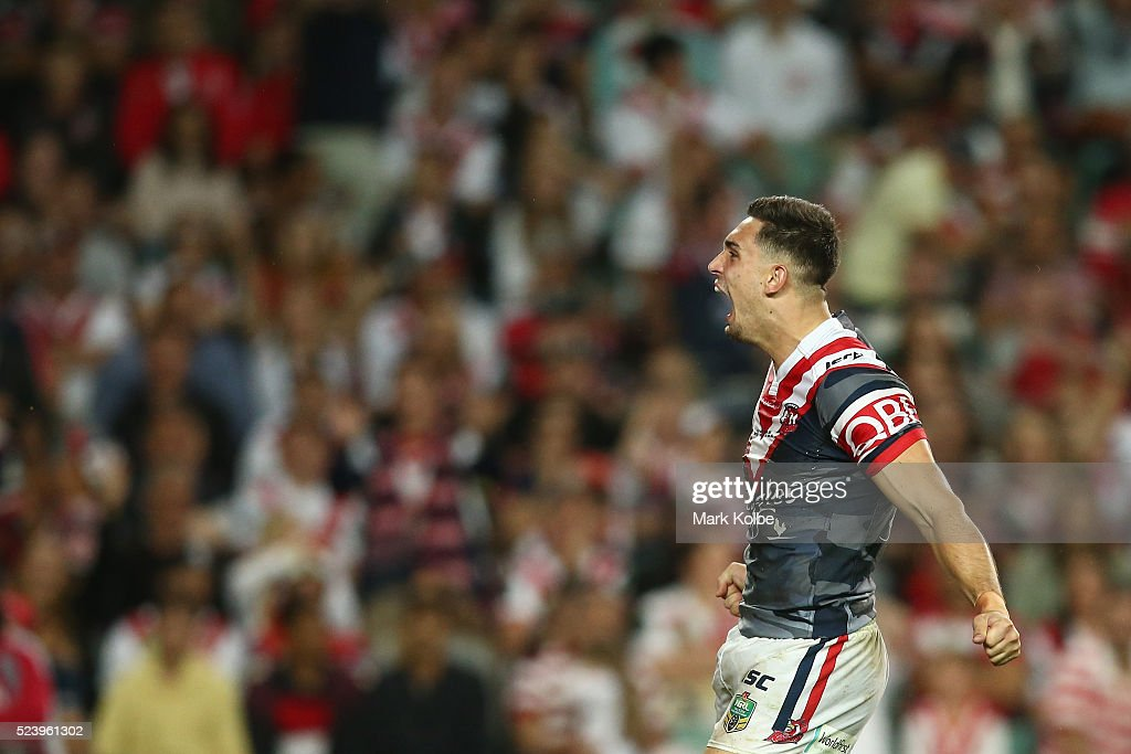 Ryan Matterson of the Roosters celebrates scoring a try during the round eight NRL match between the St George Illawarra Dragons and the Sydney Roosters at Allianz Stadium on April 25, 2016 in Sydney, Australia.