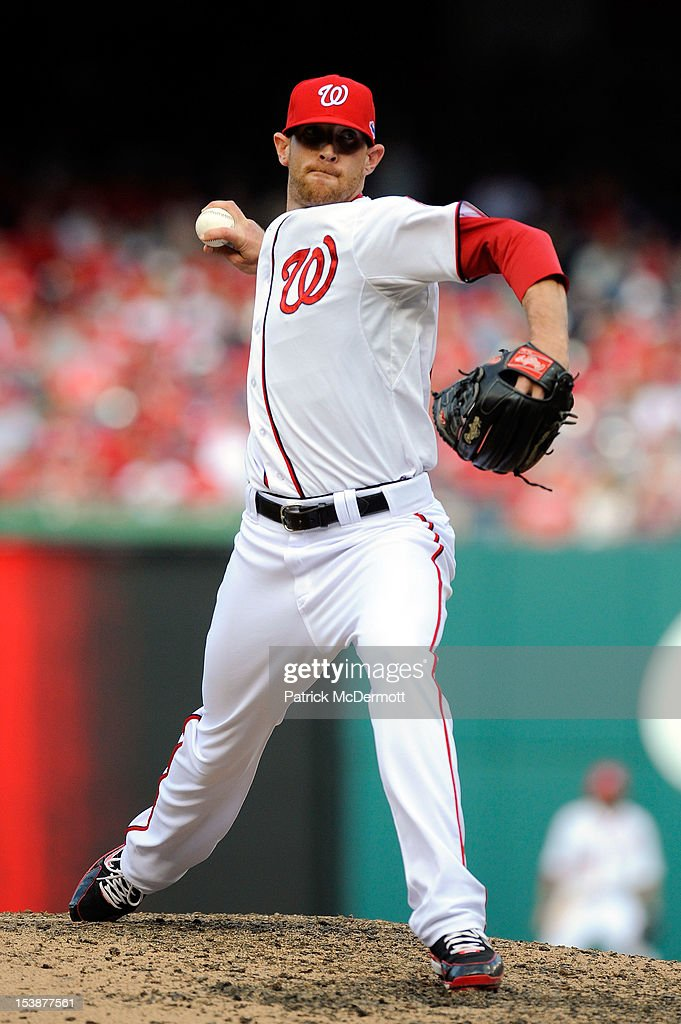 <a gi-track='captionPersonalityLinkClicked' href=/galleries/search?phrase=Ryan+Mattheus&family=editorial&specificpeople=5437096 ng-click='$event.stopPropagation()'>Ryan Mattheus</a> #52 of the Washington Nationals pitches against the St. Louis Cardinals during Game Three of the National League Division Series at Nationals Park on October 10, 2012 in Washington, DC.