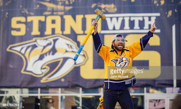Ryan 'Maverick' Whited revs up the fans outside Bridgestone Arena prior to Game Four of the Western Conference Final between the Nashville Predators...