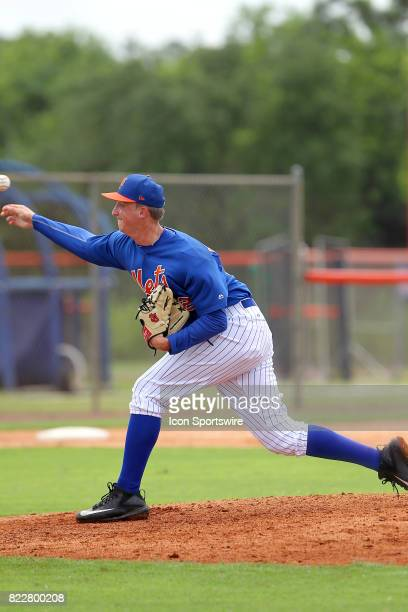 Ryan McAuliffe of the Mets delivers a pitch to the plate during the Gulf Coast League game between the Marlins and the Mets on July 21 at the New...
