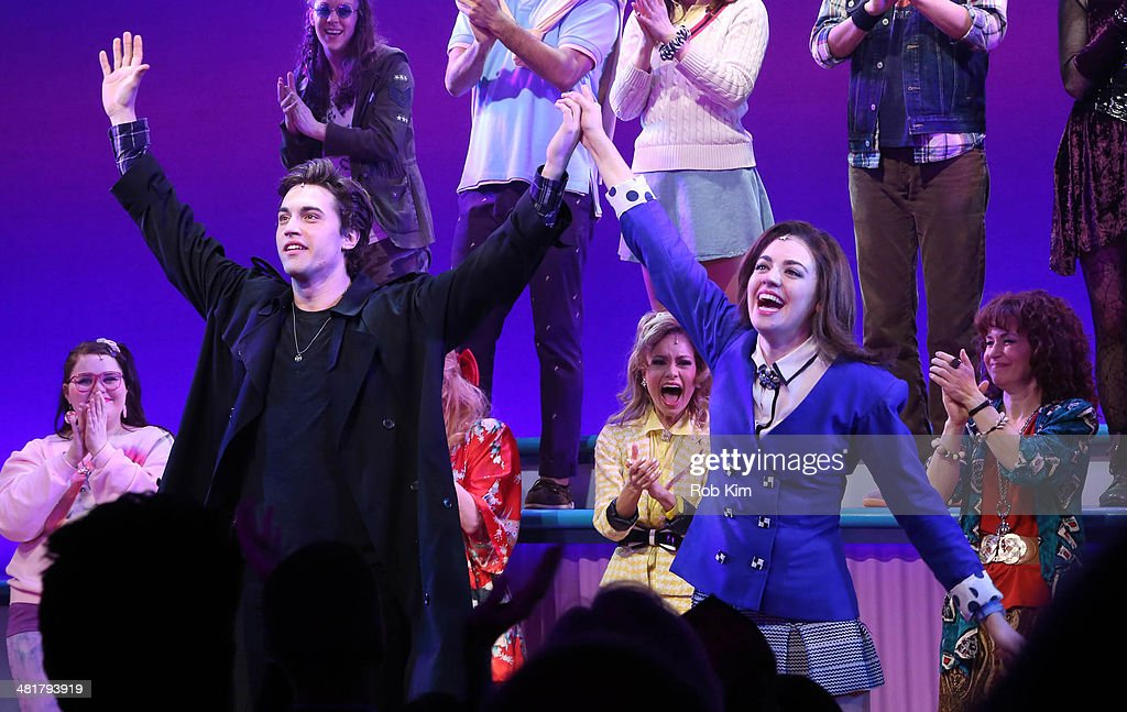 Ryan McCarten and Barrett Wilbert Weed, and cast attend curtain call at the off Broadway opening night of 'Heathers The Musical' at New World Stages on March 31, 2014 in New York City.