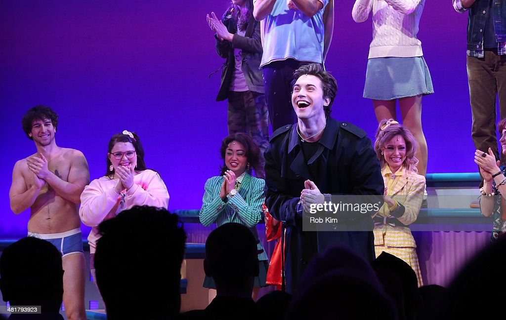 Ryan McCarten and cast attend curtain call at the off Broadway opening night of 'Heathers The Musical' at New World Stages on March 31, 2014 in New York City.
