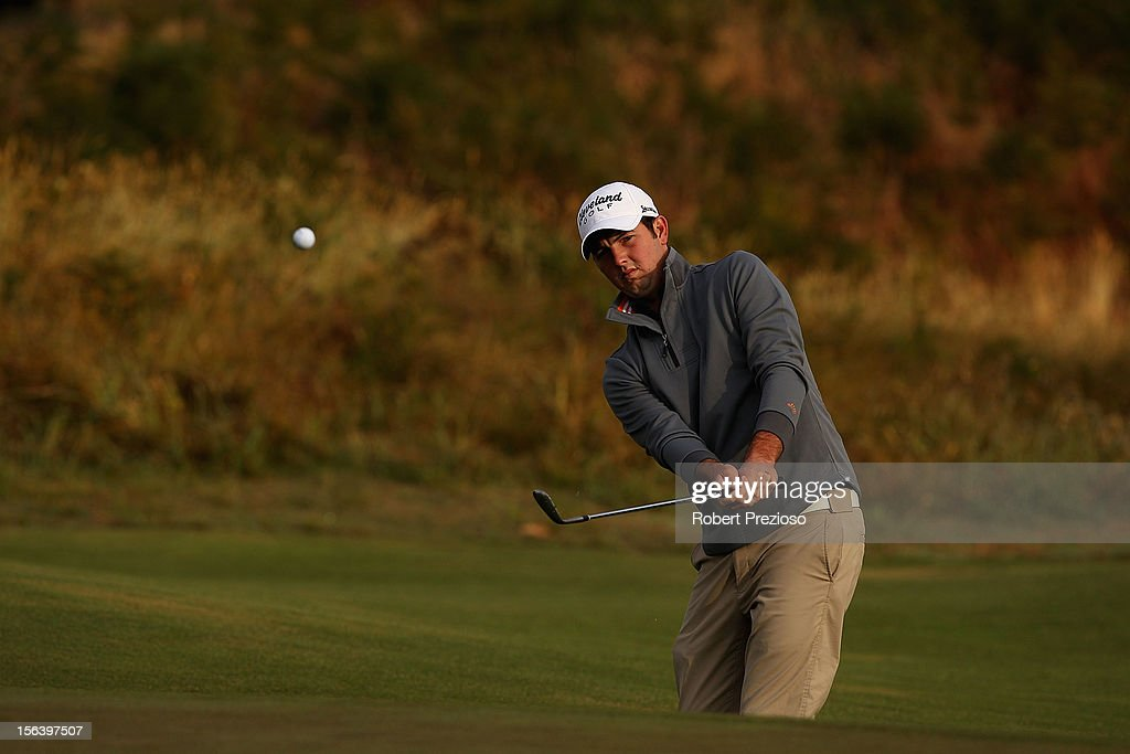 Ryan McCarthy of Australia plays a shot on the 1st hole during day one of the Australian Masters at Kingston Heath Golf Club on November 15, 2012 in Melbourne, Australia.