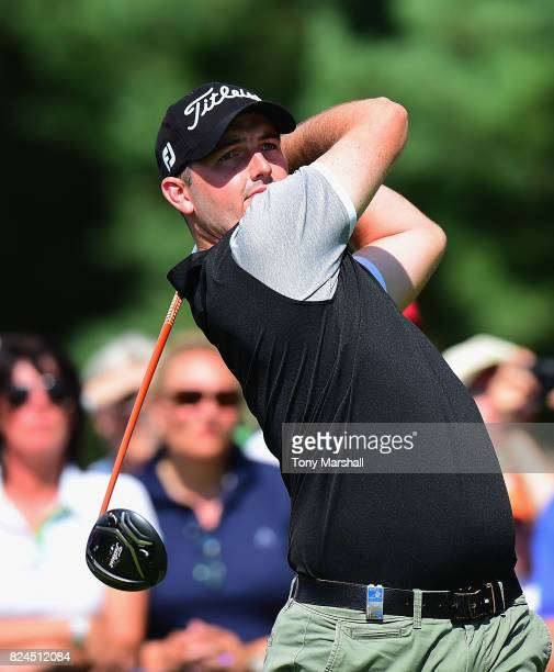 Ryan McCarthy of Australia plays his first shot on the 1st tee during the Porsche European Open Day Four at Green Eagle Golf Course on July 30 2017...