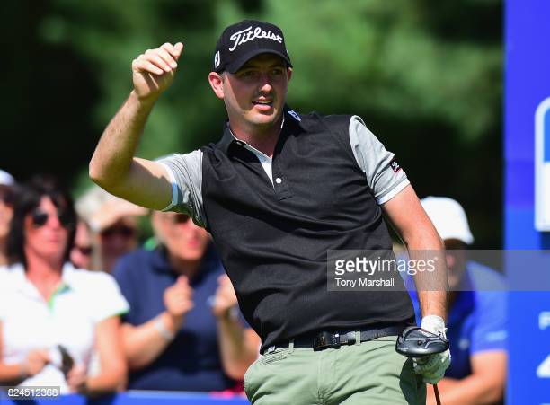 Ryan McCarthy of Australia watches his first shot on the 1st tee during the Porsche European Open Day Four at Green Eagle Golf Course on July 30 2017...
