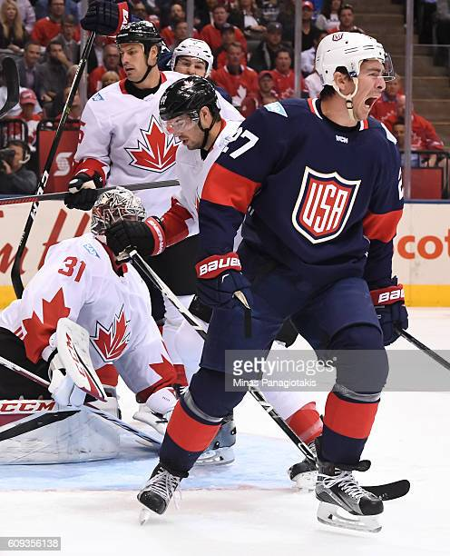 Ryan McDonagh of Team USA celebrates after scoring a first period goal on Carey Price of Team Canada during the World Cup of Hockey 2016 at Air...