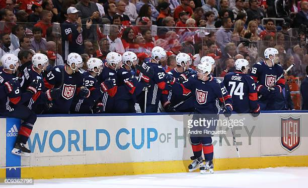 Ryan McDonagh of Team USA high fives the bench after scoring a first period goal on Team Canada during the World Cup of Hockey 2016 at Air Canada...