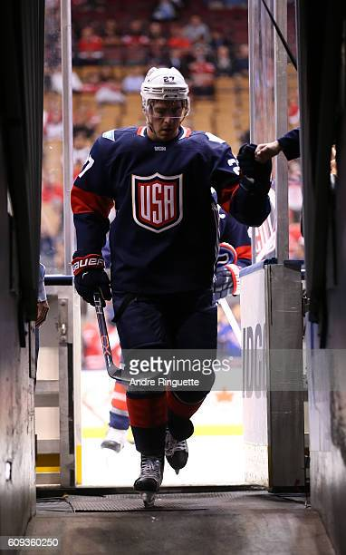 Ryan McDonagh of Team USA leaves the ice after warms up prior to a game against Team Canada during the World Cup of Hockey 2016 at Air Canada Centre...