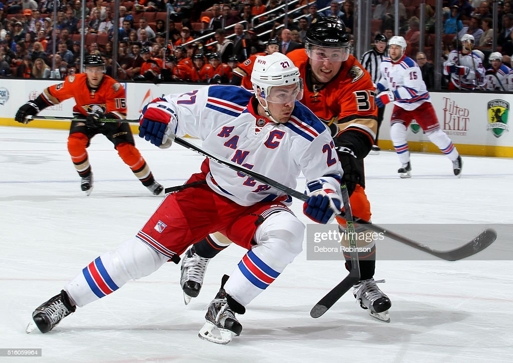 Ryan McDonagh #27 of the New York Rangers battles for position against Nick Ritchie #37 of the Anaheim Ducks on March 16, 2016 at Honda Center in Anaheim, California.