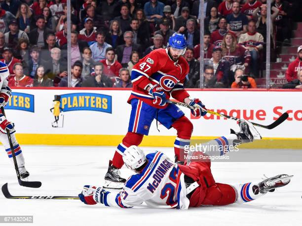 Ryan McDonagh of the New York Rangers blocks a shot by Alexander Radulov of the Montreal Canadiens in Game Five of the Eastern Conference First Round...