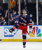 Ryan McDonagh of the New York Rangers celebrates his goal at 504 of the third period against the Pittsburgh Penguins at Madison Square Garden on...