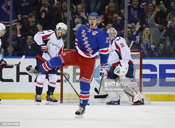Ryan McDonagh of the New York Rangers celebrates his goal at 749 of the first period against the Washington Capitals at Madison Square Garden on...