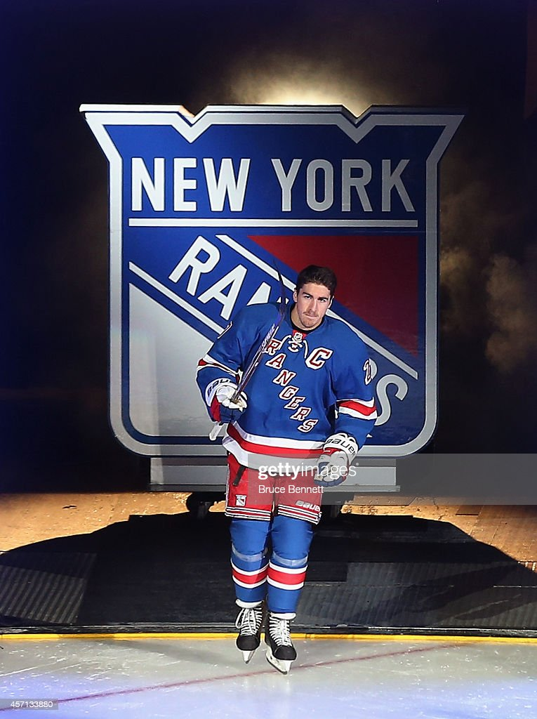 Ryan McDonagh of the New York Rangers is introdiuced prior to playing in his first home game as captain of the team against the Toronto Maple Leafs...