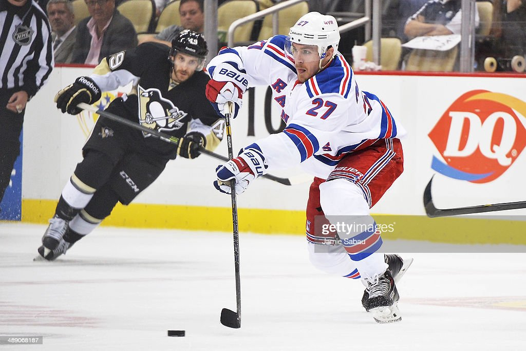 Ryan McDonagh #27 of the New York Rangers passes the puck during the third period against the Pittsburgh Penguins in Game Five of the Second Round of the 2014 NHL Stanley Cup Playoffs on May 9, 2014 at CONSOL Energy Center in Pittsburgh, Pennsylvania. New York defeated Pittsburgh 5-1.