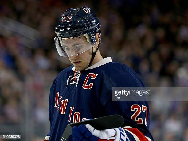 Ryan McDonagh of the New York Rangers reacts to the loss after the game against the Chicago Blackhawks at Madison Square Garden on February 17 2016...