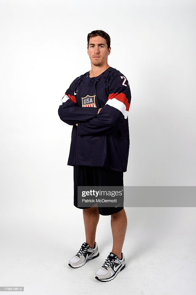 Ryan McDonagh poses after being named a candidate for the 2014 USA Hockey Olympic Team at the Kettler Capitals Iceplex on August 27, 2013 in Arlington, Virginia.