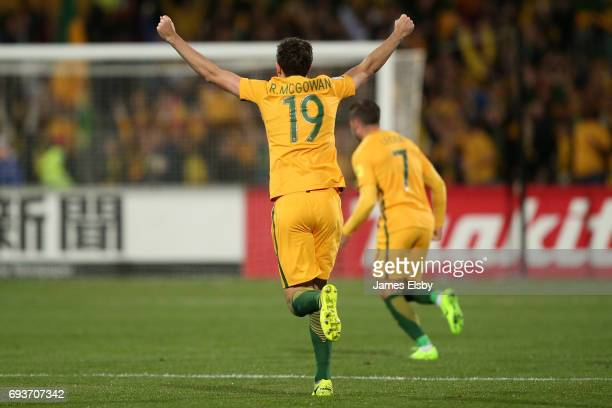 Ryan McGowan of Australia celebrates a goal during the 2018 FIFA World Cup Qualifier match between the Australian Socceroos and Saudi Arabia at the...
